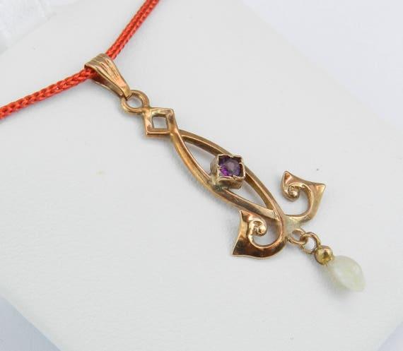 Antique Art Deco Nouveau Yellow Gold Garnet and Pearl LAVALIER Pendant Necklace