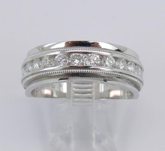 Men's 1.00 ct Diamond Wedding Ring Anniversary Band 14K White Gold Size 9.75