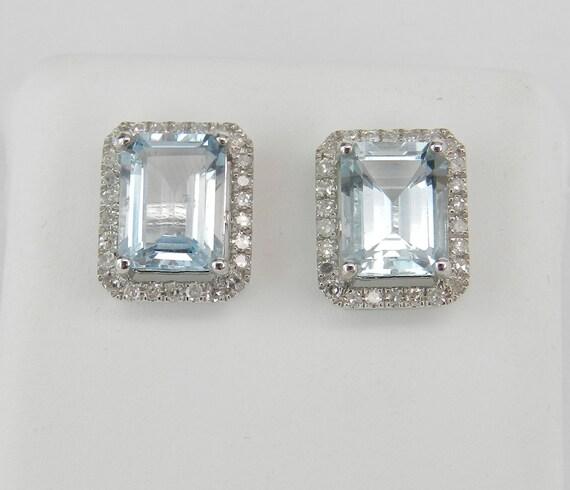 2.90 ct Aquamarine and Diamond Stud Earrings Halo Studs 14K White Gold Aqua March Birthstone