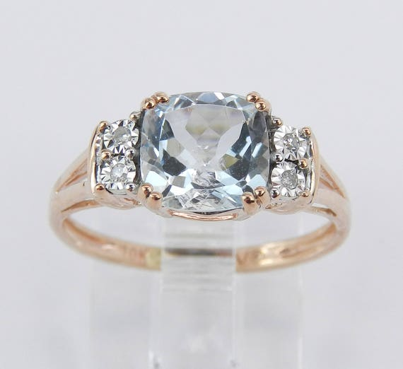 Aquamarine and Diamond Engagement Promise Ring Rose Gold Aqua Size 5.5 March Gem