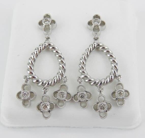 Diamond Earrings 14K White Gold Chandelier Dangle Drop Flower Wedding Earrings