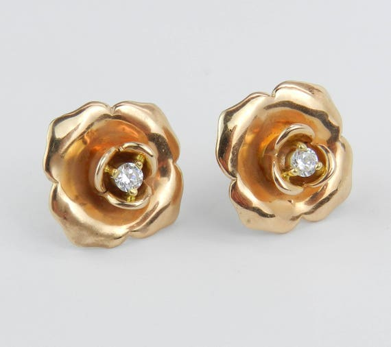 18K Rose and Yellow Gold Flower Stud Earrings Diamond Studs Unique Rare Wedding Gift