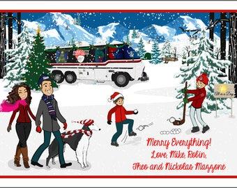 RV Camping Camper Holiday - Custom Illustrated Christmas Card - Holiday Card - Hannukah Card - DIY Printable - Print Option Available