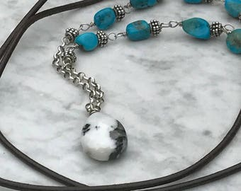 Leather - Turquoise - Sterling Silver Necklace - Southwestern Sundance Style - Artisan Jewelry