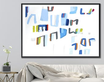 Abstract Painting PRINT, Geometric art, 28X40 extra large wall art mid century modern art, Grey Blue abstract, Acrylic painting