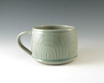 Stoneware Coffee Mug, Handmade Pottery Cup, Ceramic Tea Cup, Wheel Thrown Mug, Celedon Green, Pottery Mug, Coffee Cup, 12 ounces, M204
