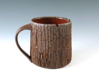 Pottery Coffee Mug, Weathered Wood Grain Pottery Mug, Unique Handmade Mug, Art Pottery, Functional Ceramics, MS113