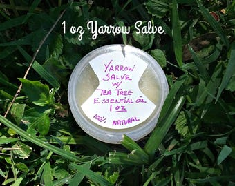 1 oz Yarrow Salve - Tea Tree - Herbal Salves - Natural Salves - Herbal Remedy Salves - Medicinal Herbs - Elusive Wolf