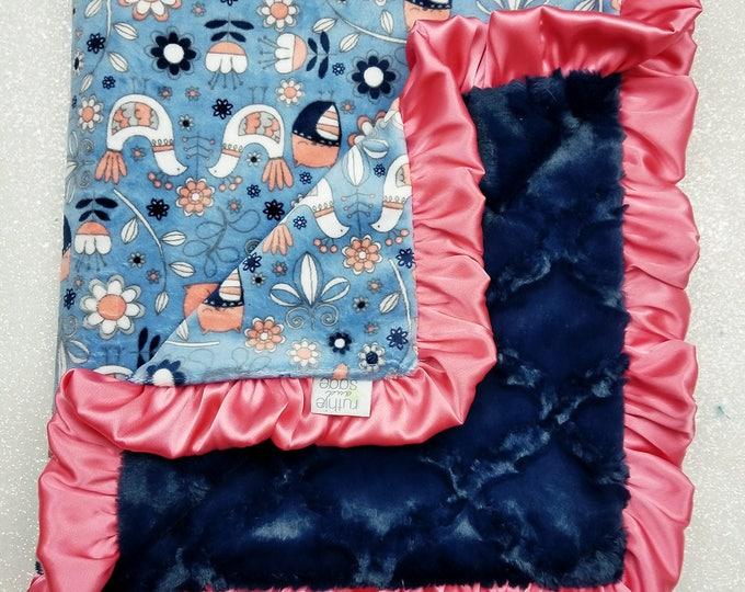 READY TO SHIP Minky blanket, baby girl blanket, Blue Bird, coral and navy minky, Custom minky blanket, coral and blue, Modern, bird and owl