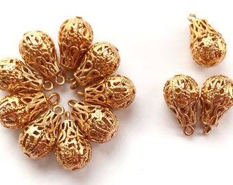 Brass Beads, 12 Piece, Hollow Filigree Beads, Tear Drop Beads, Vintage Jewelry Supplies, Gold Plate, Bsue Boutiques, 15x10mm, Item03232