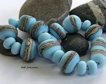Sky Stone Selection, Lampwork Pebble Beads, SRA, UK
