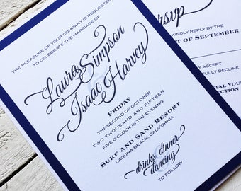 Simply Elegant Wedding Invitation, Stationery Set, Wedding Suite, Invite Response Details, Invitation Set