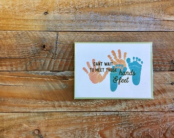 PRAY FOR HANK - Can't Wait to Meet Those Hands and Feet, Greeting Card - Baby & Expecting, New Family, Greetings, 4.5x6 card with envelope