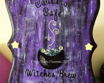 Cauldron Cafe Hand Painted Witchy Wooden Plaque