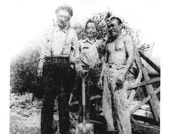 "Vintage Photo ""Zombie Farmers"" Darkroom Mistake Weird Laughing Shirtless Man Bizarre Found Vernacular Photo"