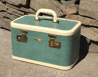 Mid-Century Train Travel Case Carry-On Luggage Case Suit Case 1960's Turquoise Durabilt Seattle Mad Men Eames Era Rare