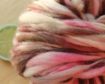 Neapolitan - Handspun Superwash Wool Yarn Pink Brown Thick and Thin Skein