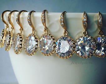 Gold Bridesmaids Earrings Gift Set, Wedding Jewelry, Cubic Zirconia, Bridal Earrings, Gift, Crystal, Round, Dangling Earrings