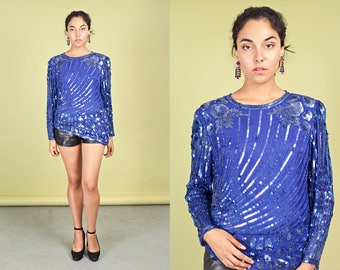 80s Royal Blue Sequin Blouse Vintage Beaded Long Sleeve Top
