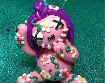 Flower Girl Voodoo Doll. Hand Sculpted Polymer Clay Figurine