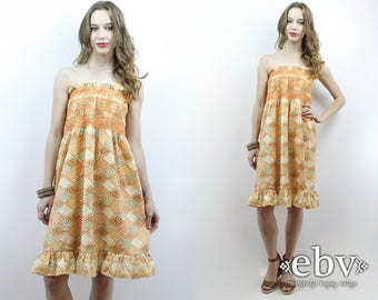 Hippie Dress Hippy Dress Patchwork Dress Festival Dress Boho Dress 70s Dress Summer Dress Vintage 70s Mini Festival Dress Tube Dress XS S