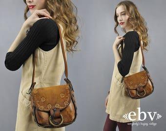 Tooled Leather Purse Boho Purse Hippie Purse Hippy Purse Bohemian Purse Brown Leather Bag Shoulder Bag 1970s Purse 70s Purse Travel Bag