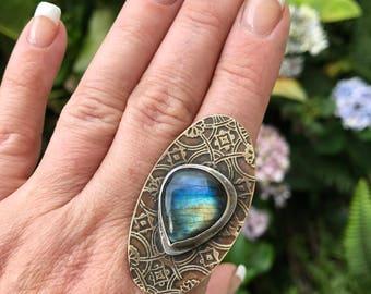 Sacred Geometry Labradorite Ring Flower of Life Bohemian