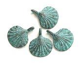 4pc Metal Shell charms, seashell beads, Green patina on copper, Verdigris, greek casting beads, Lead Free, nautical, beach - F124
