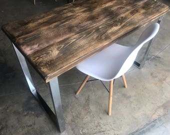 Modern Reclaimed Wood & Chrome Desk