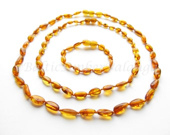 Baltic Amber Teething Set for Baby and Mommy, Cognac Color Bean Shape