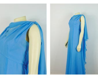 Vintage Dress 60s Mad Men Formal Dress Sky Blue Chiffon Overlay Rhinestone Accents Prom Dress Size Small to Medium