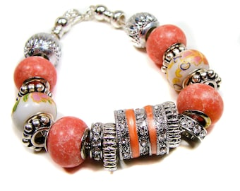 Soft Peach and  European Garden Style Handmade Bracelet with Crystals: silvery spacer beads, etsy handmade, etsy shop, gifts for her