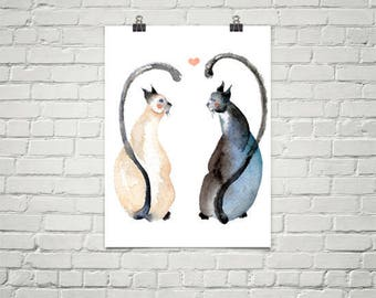 Large Art Print of Two Cats Love Watercolor Painting - wedding valentines whimsical nursery engagement romance love siamese gifts for her