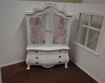 Dollhouse armoire 1:12 scale French shabby chic style/ cabinet