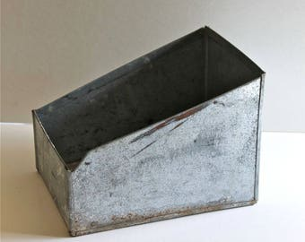 Old galvanized Metal parts bin Storage Bin hardware storage container Industrial Salvage Decor