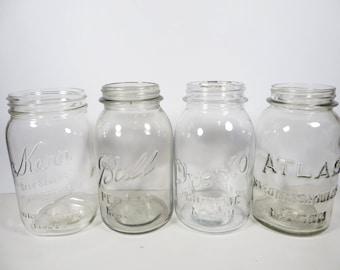 Set of 4 Vintage Clear Glass Canning Jars - Kerr Ball Presto Atlas