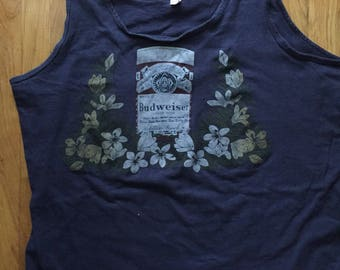 Vintage 70s Made in the USA Budweiser floral tank top men's XL