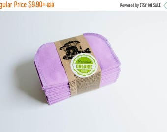 ON SALE Organic Cloth Wipes - Flannel Cloth Wipes - Organic Wipes - Double Layer -  Berry Color  - Choose your Quantity & Size