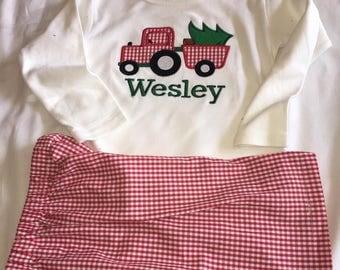 Monogrammed Personalized Boys Christmas tree shirt pants set
