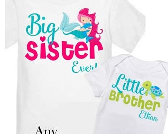 ON SALE Big Sister and Little Brother Mermaid Turtle Shirts Personalized T Shirt Set