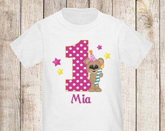 ON SALE 1st Birthday Pink Bear Personalized Birthday Shirt - ANY Age