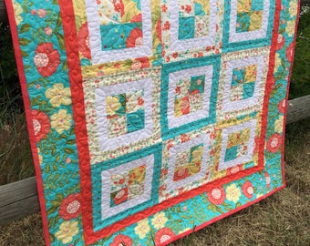 Quilted Wall Hanging, Quilt Art, Bright Summer Wall Hanging