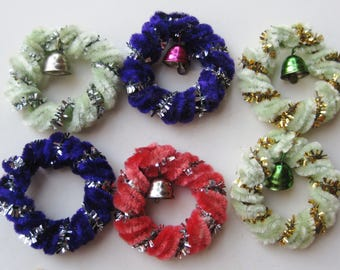 6 Vintage Chenille Pipe Cleaner Tinsel Christmas Wreath Gift Decorations Ornaments