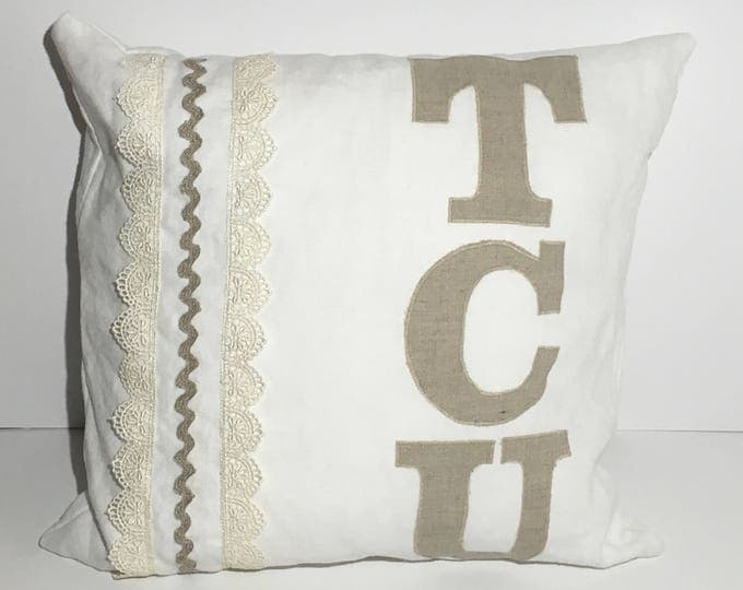 100% Washed French Linen Cream and Lace TCU Pillow 14x14 Pillow Cover Horned Frog Applique TCU Home Decor