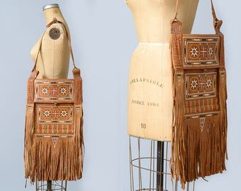 1970s Huge Moroccan Festival Fringe Purse Embroidered Leather Bohemian Tote