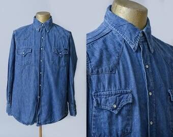 60s Denim Western Pearl Snap Two Pocket Sears Western Wear Work Shirt