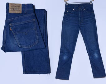 Vintage Levis 505 Orange Tag Dark Denim High Waisted Skinny Jean 29 x 29.5