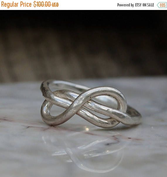 ON SALE Infinity Ring - Infinity Ring of Fine Silver - Infinity Knot Ring