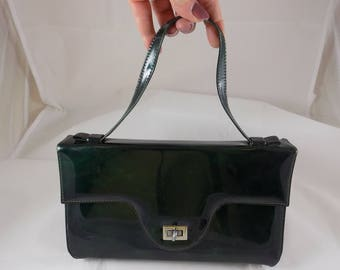 Vintage Green Marbled Patent Leather Kelly Style Handbag Purse