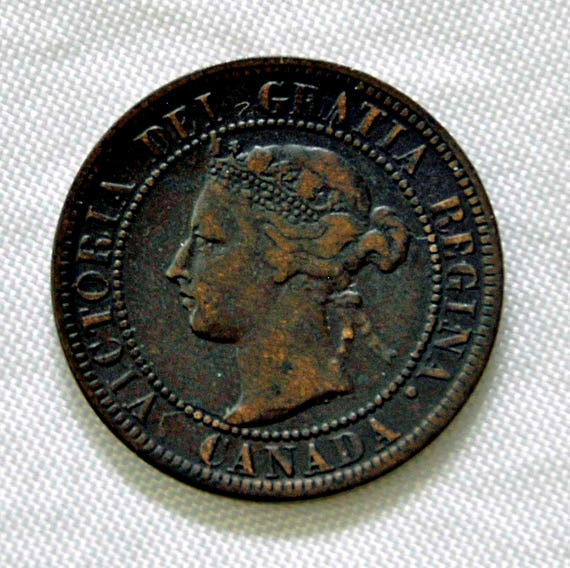 Antique 1896 QUEEN VICTORIA Canada Victoria Dei Gratia One Cent Coin In Good Vintage Condition Free Shipping in USA Only